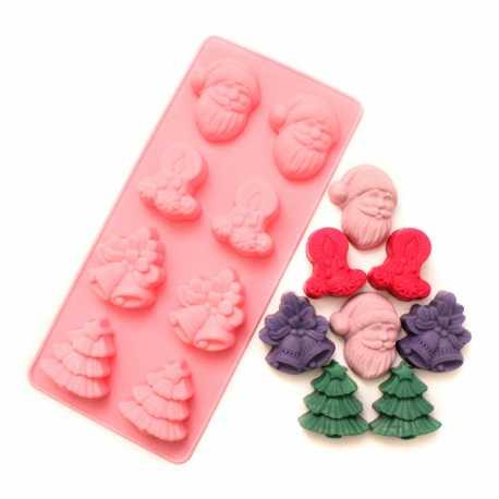 Silikonová forma na mýdlo vánoční mix - 8 ks