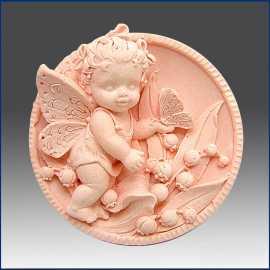 Silikonová forma na mýdlo andílek - holčička s motýlkem