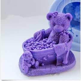Silikonová forma na mýdlo a svíčku 3D medvědí koupel