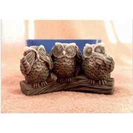 Silikonová forma na mýdlo a svíčku tři sovy