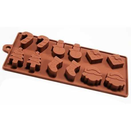 Silikonová forma na mýdlo vánoční mix IV. - 12 ks