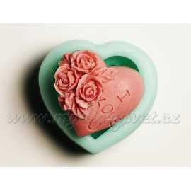 Silikonová forma na mýdlo srdíčko I LOVE U