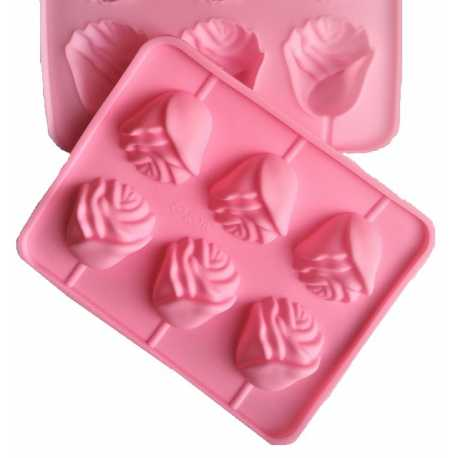 Silikonová forma na mýdlo ve tvaru růže - 6 ks