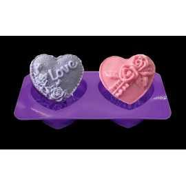 Silikonová forma na mýdlo srdíčka 4ks