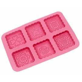 Silikonová forma na mýdlo ornamenty čtverce II. - 6 ks