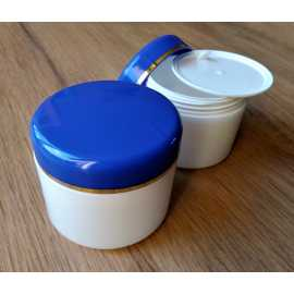 Kosmetická dóza natur - modré víčko s proužkem 50ml