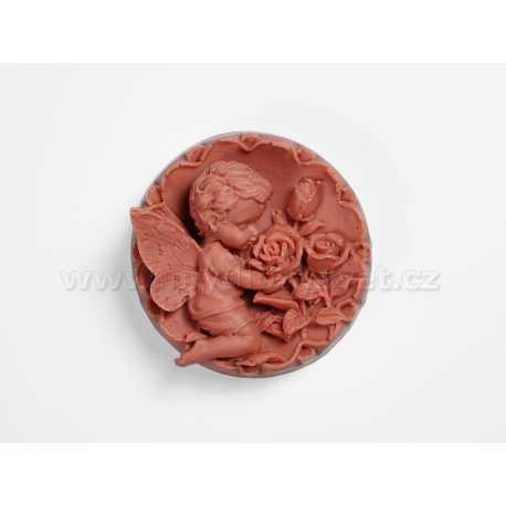 Silikonová forma na mýdlo andílek s růžemi I.