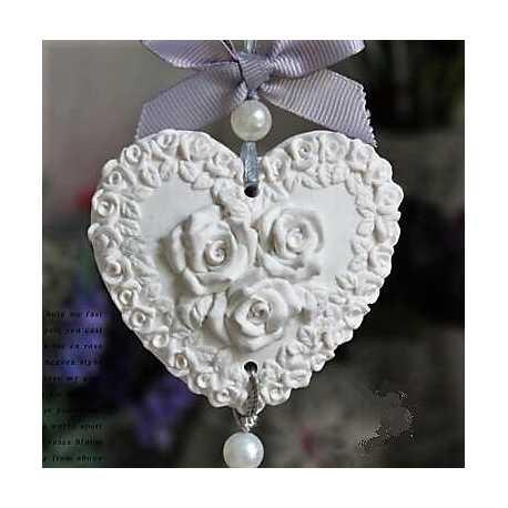Silikonová forma na závěsnou dekoraci srdce s andělem