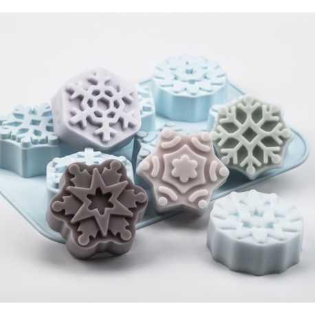 Silikonová forma na mýdlo sněhové vločky II. - 6ks