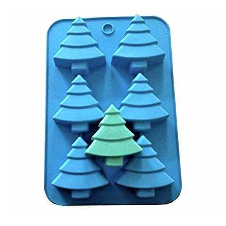 Silikonová forma na mýdlo stromečky - 6 ks