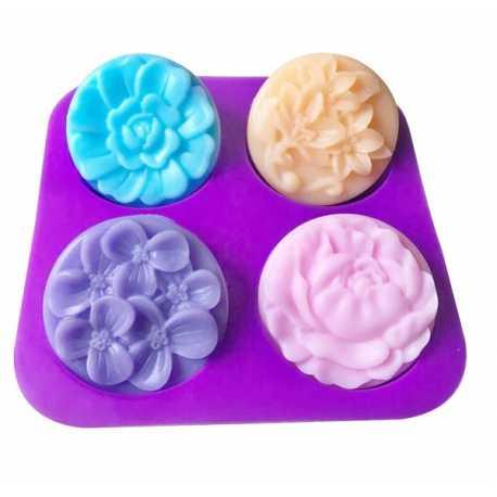 Silikonová forma na mýdlo květy mix II. - 4 ks