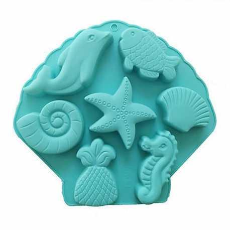 Silikonová forma na mýdlo mořský mix- 8 ks