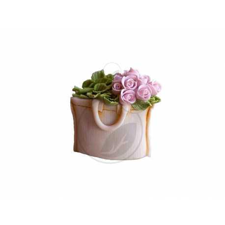 Silikonová forma na mýdlo taška s růžemi