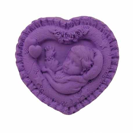 Silikonová forma na mýdlo miminko v srdíčku